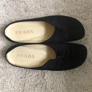 Prada Silk and Leather Slides